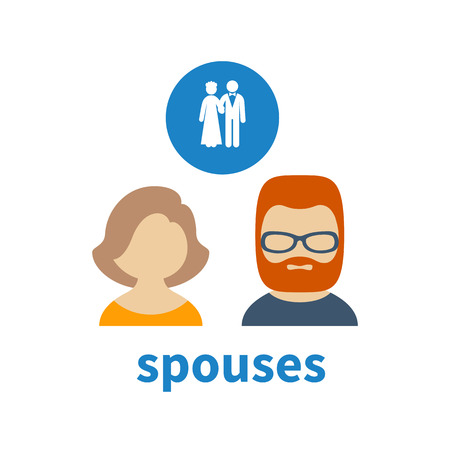 illustrating: Bright icon and avatar, illustrating relations between two spouses