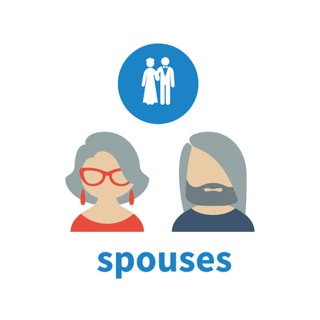 illustrating: Bright icon and avatar, illustrating relations in a mature couple