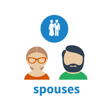 illustrating: Bright icon and avatar, illustrating relations between married couple