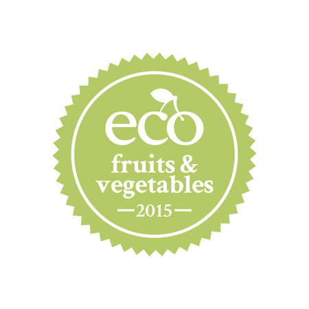 ecologically: Green badge in retro style for ecologically pure fruits and vegetables and organic products Illustration