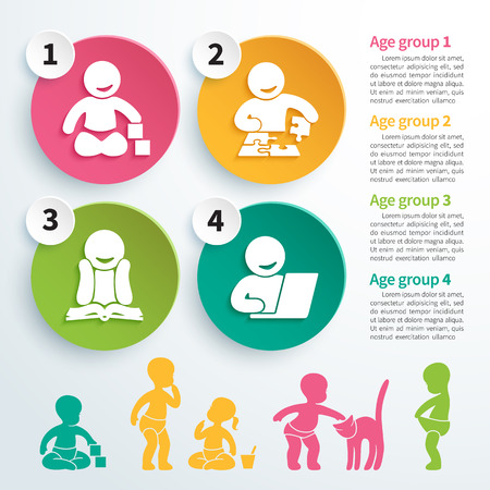 crecimiento: Infografía vector coloridas del desarrollo del niño, juegos educativos con cuatro iconos de crecimiento intelectual del niño y las siluetas de niños jugando