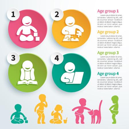 bambini: Infografica vettore colorate di sviluppo del bambino, giochi educativi con quattro icone di crescita intellettuale del bambino e sagome di bambini che giocano