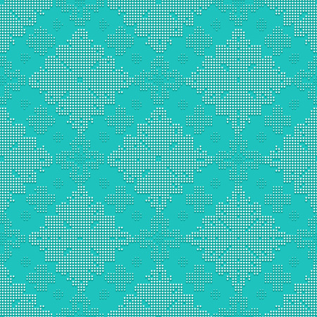 bead: Delicate seamless classic pattern in the form of bead embroidery ornament on the turquoise background