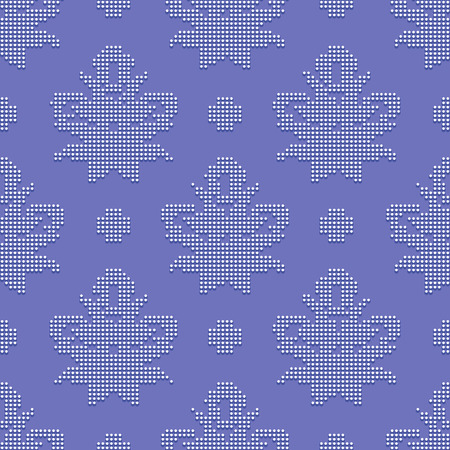 bead embroidery: Bright seamless classic pattern in the form of bead embroidery ornament on the violet background Illustration