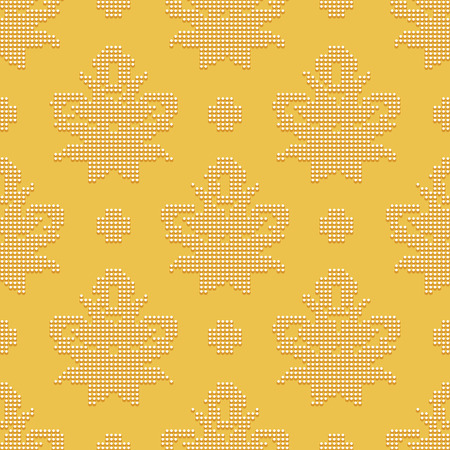 bead embroidery: Bright seamless classic pattern in the form of bead embroidery ornament on the yellow background