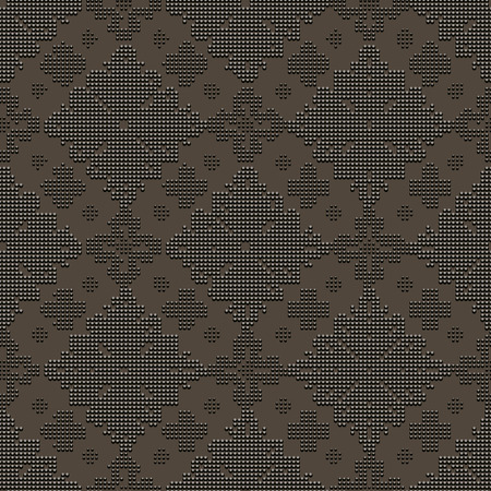 bead embroidery: Dark seamless classic pattern in the form of bead embroidery ornament on the black background
