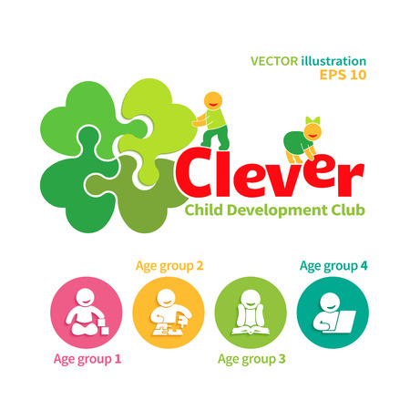 early childhood: Vector logo of child development club or educational games and four icons of intellectual  growth of the child