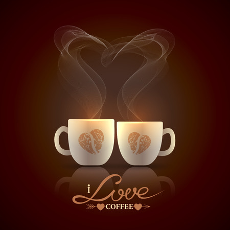 cofe: Two cream color cups, decorated with coffee beans in the form of heart, stand together with fragrant steam in the form of heart on a dark brown background Illustration