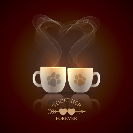 drinks party: Two cream color cups decorated with cat tracks stand together with fragrant steam in the form of heart on Valentines Day Illustration
