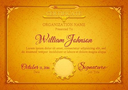 certificado: Certificado cl�sico de oro con una textura de m�rmol, elementos decorativos de �poca y marco con espacio para el sello sello y el texto de felicitaci�n