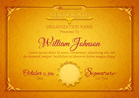 decoration template: Golden classic certificate with a marble texture, vintage decorative elements and frame with space for stamp seal and congratulatory text