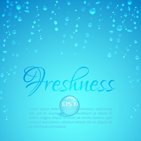 freshness: Drops of water on glass on a blue background to illustrate the freshness