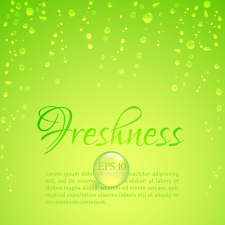 illustrate: Drops of water on glass on a bright green background to illustrate the freshness Illustration
