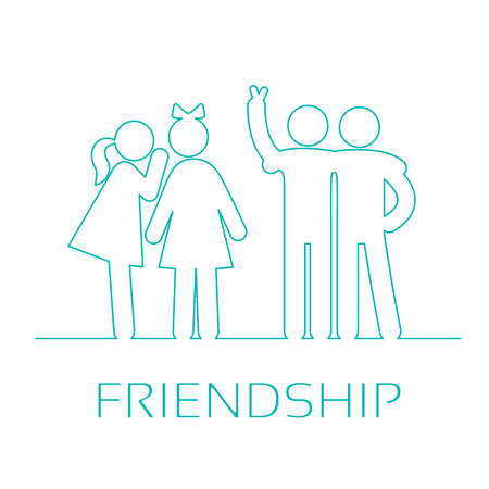 friendliness: Friendship linear icons. Girlfriends gossiping, friends fun watching