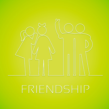 friends fun: Friendship linear icons on the bright green background. Girlfriends gossiping, friends fun watching