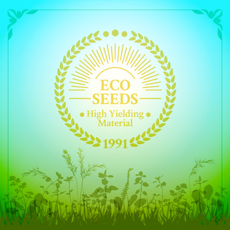 ecologically: Badge in retro style for ecologically pure seeds framed ears of wheat with sun rays on the nature herbal background
