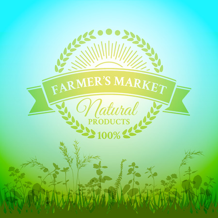 herbal background: Green badge in retro style for farmers market with ecologically pure farm product framed ears of wheat with sun rays on the nature herbal background