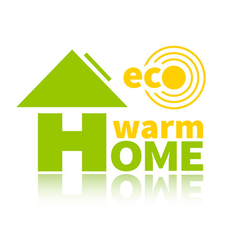 warm home: Logo of the environmentally friendly energy source. Eco solar battery, warm home Illustration