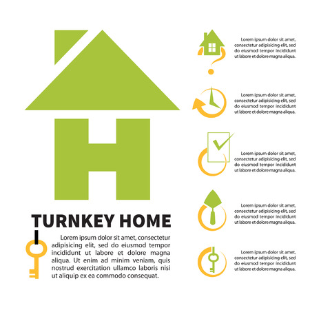 h: Green logo of the construction company in the shape of lettr H. Turnkey home.