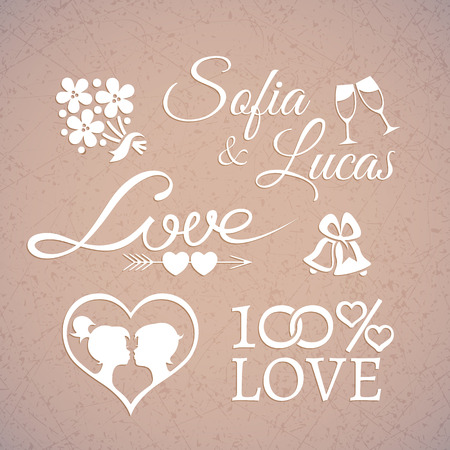 vintage ornament: Delicate white wedding or Valentines Day design love elements in retro style with silhouettes and shining heart on the grunge beige background