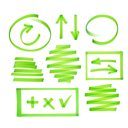 Collection of bright green highlighter drawn arrows, frames strokes and other elements