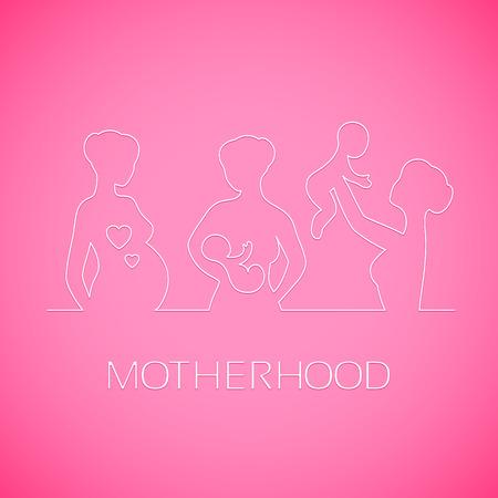 lactancia materna: Silueta blanca lineal de las ni�as, las madres y las mujeres embarazadas lactantes que juegan con el beb� en el fondo de color rosa brillante. Elementos del dise�o para los saludos del d�a de madres.