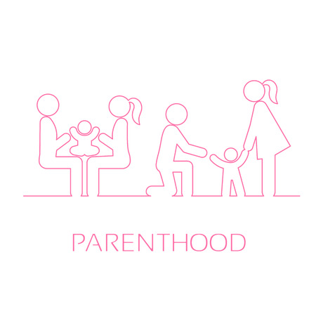 Family linear icons. Mother, father and child. Care, the game and the first steps