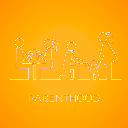 child care: Family linear icons on the bright yellow background. Mother, father and child. Care, the game and the first steps Illustration