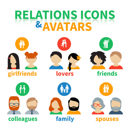 relations: Bright icons and avatars, illustrating these types of social relations as partnership, friendship, love, family, marriage Illustration