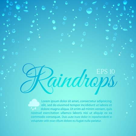 freshness: Raindrops running down the glass on a blue background to illustrate the freshness, rain, the weather and the seasons