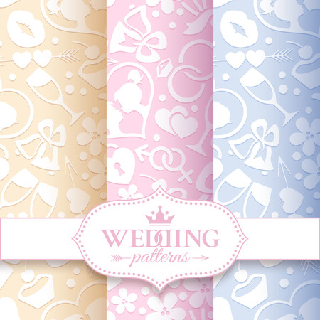 pale cream: Set of 3 pale romantic seamless patterns with white love and wedding symbols on the cream, pink and lilac background Illustration