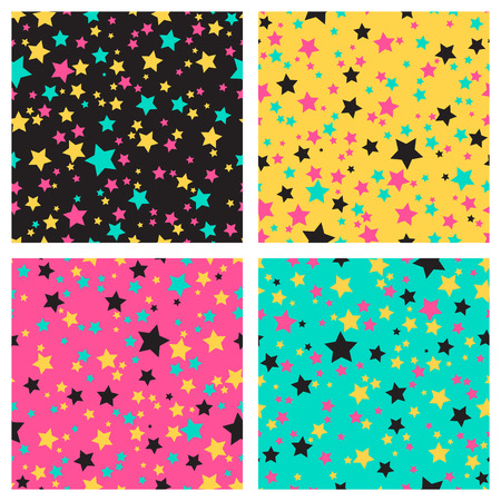 black and yellow: Collection of 4 seamless textures with colored bright stars on the black, yellow, pink and blue background