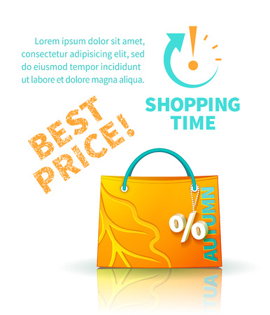 selloff: Bright yellow shopping bag with advertising seasonal autumn sale and trinket in form of percent and lettering of best price and icon shopping time