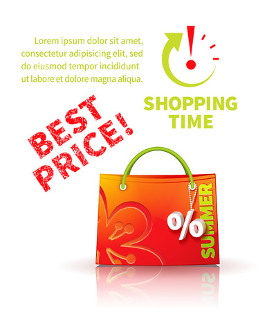 trinket: Bright red shopping bag with advertising seasonal summer sale and trinket in form of percent and lettering of best price and icon shopping time