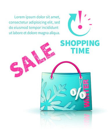 selloff: Bright blue shopping bag with advertising seasonal winter sale and trinket in form of percent and  icon shopping time
