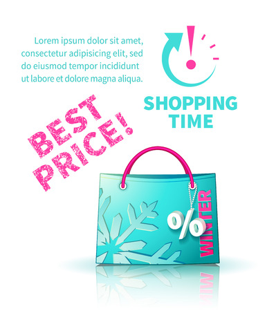trinket: Bright blue shopping bag with advertising seasonal winter sale and trinket in form of percent and lettering of best price and icon shopping time Illustration