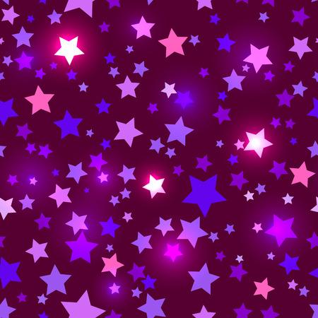 estrellas moradas: Vacaciones brillante sin fisuras con las estrellas púrpuras brillantes sobre un fondo oscuro en el estilo de música disco Vectores