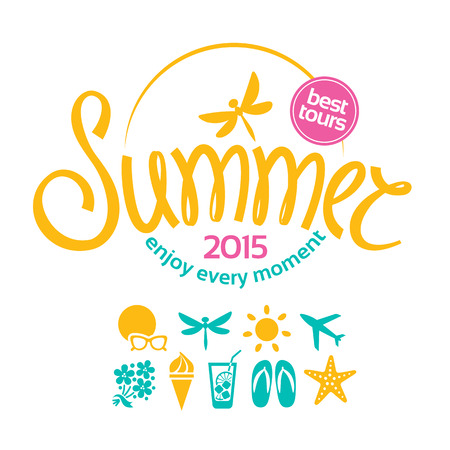 Colorful lettering summer and icons set for promotions of the best tour