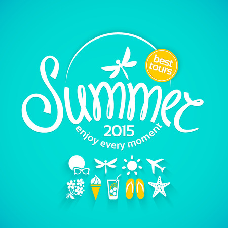 stickers: Colorful lettering summer and white icons set on turquoise background for promotions of the best tour Illustration