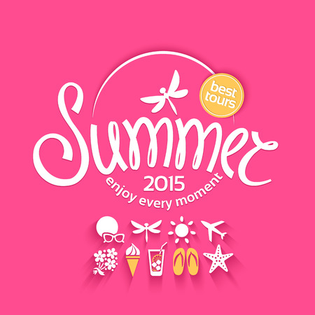 Colorful lettering summer and white icons set on the bright pink background for promotions of the best tour Ilustracja