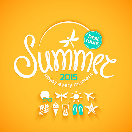 logotipo turismo: Colorido verano letras e iconos blancos establecidos en fondo amarillo para las promociones de la mejor excursión Vectores