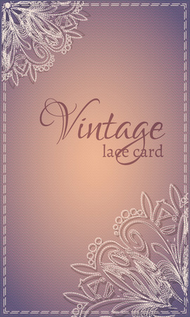 pale cream: Vintage card with creamy lace on a brown background for greetings, invitation or flyer