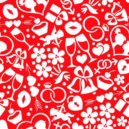 Bright romantic seamless pattern with white symbols on the red background