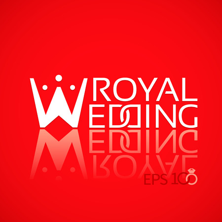 crown logo: Emblem or logo for wedding studios with the letter in the form of a crown on the red background Illustration
