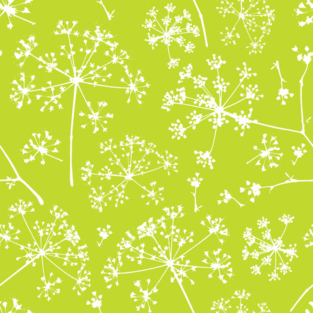 umbel: Abstract seamless pattern with white delicate umbrellas parsley or dill on a green background Illustration
