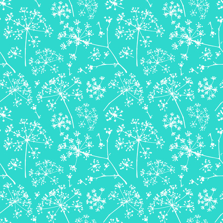 Abstract seamless pattern with white delicate umbrellas parsley or dill on a turquoise background