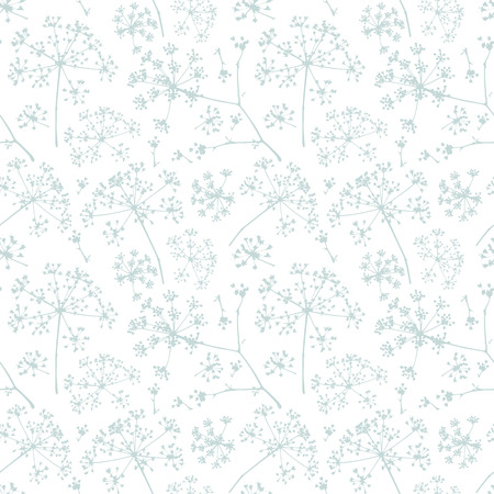 dill seed: Abstract seamless pattern with turquoise delicate umbrellas parsley or dill on a white background