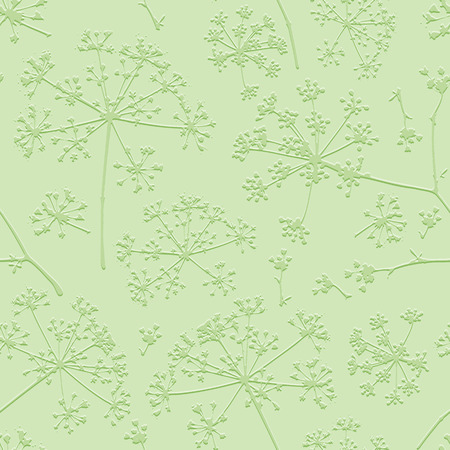 umbel: Abstract seamless pattern with green delicate umbrellas parsley or dill on a light background