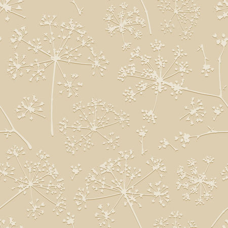 umbel: Abstract seamless pattern with light delicate umbrellas parsley or dill on a beige background Illustration