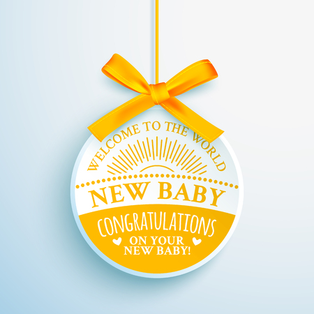 Bright yellow congratulatory label for newborn baby 일러스트